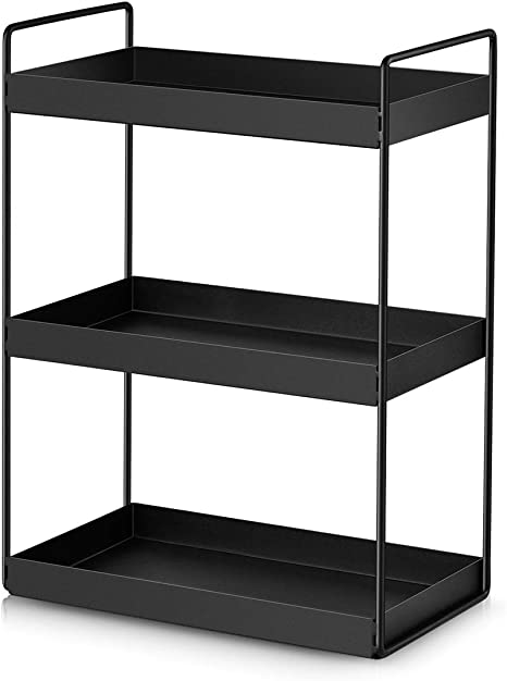 Amazon Com 3 Tier Bathroom Countertop Organizer Vanity Tray Cosmetic Makeup Storage Kitchen Spice Rack Standing Shelf Black Kitchen Dining