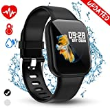 Golden hour Fitness Tracker, Heart Rate Monitor, Activity Tracker, Blood Pressure Monitor, Full Screen Touch Waterproof Smart Watch, Sleep Monitor, Calorie Counter, Pedometer for Kids Women and Men