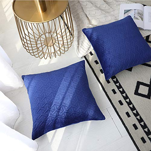 (Rythome Set of 2 Decorative Throw Pillow Cover for Bedding, Comfortable Accent Cushion Sham Case for Couch Sofa, Soft Solid Quilted Velvet with Zipper Hidden - 18