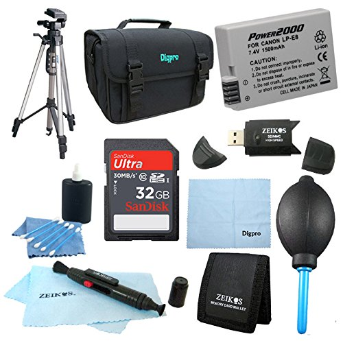 LP-E8 Battery 10 pc Kit 32gb SD Card & Reader 60'' Tripod Deluxe Case, Lens Cleaning Kit & Pen, Professional Blower, Memory Card Wallet, Micro Fiber Cloth Canon Rebel T5i T3i T4i T2i by Beach Camera