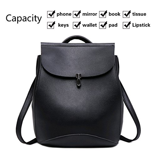 NAGU Women's Pu Leather Backpack Purse Ladies,Casual Shoulder Bag School Bag for Girls Black