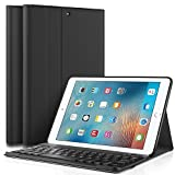 KuGi New iPad 9.7 2017 keyboard case, Ultra Lightweight Stand Portfolio cover case with Detachable Bluetooth Keyboard for Apple New iPad 9.7 2017 tablet (Black)