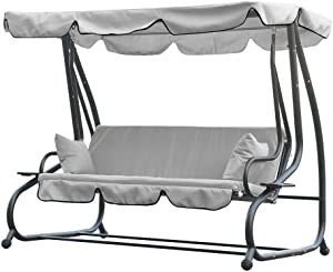 TRRAPLE Outdoor Swing Canopy Top Cover, Replacement Canopy for 3 Seaters Swing, Thick Garden Swing Seater Sun Shade 190x132cm