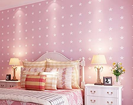 Modern Minimalist Mediterranean Blue Children Wallpaper Cute Star Bedroom WallpaperPink