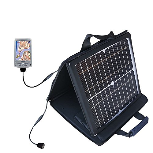 Mio 168 Plus compatible SunVolt Portable High Power Solar Charger by Gomadic - Outlet- speed charge for multiple gadgets by Gomadic