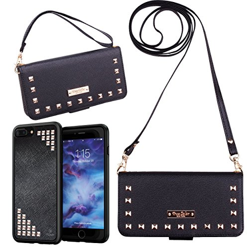 True Color Case Compatible with iPhone 7 Plus Wallet Case/iPhone 8 Plus Wallet Case Studded Wristlet with Removable Magnetic Case + 2 Changeable Wrist and Cross Body Straps Clutch Purse + Stand
