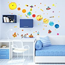 Decowall DW-1707 Planets and Space Peel and Stick Nursery Kids Wall Stickers Decals