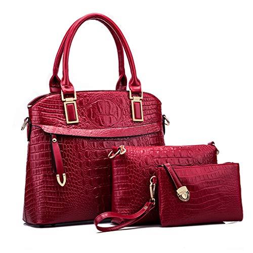 À Bag Diagonal Bandoulière À Sac Femme Big Pièces Sac Sac Trois Motif PU Pour Crocodile Red Sac Pour Main Femme Sac Lxf20 T7W6XZ