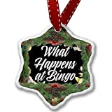 Christmas Ornament Floral Border What Happens at Bingo - Neonblond