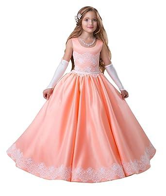 c5abdf20d89 KSDN Junior Bridesmaid Dress Satin Lace Floor Length Pageant Dance Ball Gown  US 2 Coral
