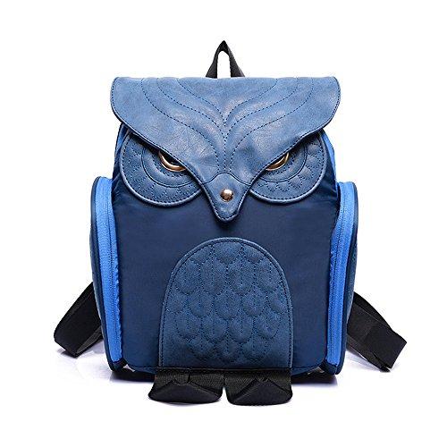 Pequeño y ligero, diseño de búhos mochila–�?d con diseño de búho CASUAL Daypack para las niñas adolescentes azul