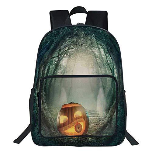 Halloween Decorations School Bag,Scary Halloween Pumpkin Enchanted Forest