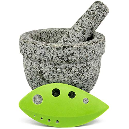 Mortar and Pestle Set - Unpolished Granite with FREE Herb Stripper and Anti Scratch, Anti Skid Protective Pad (Granite)