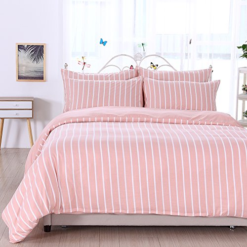 King Duvet Cover, 3Pcs Stone Washed Yarn Dyed Microfiber Simple Stylish Pink White Striped Bedding Set