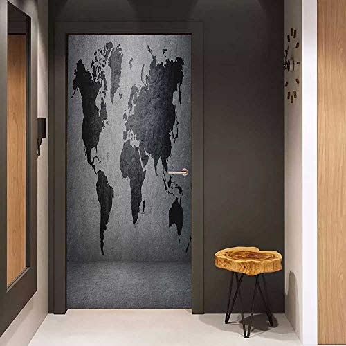 Onefzc Glass Door Sticker Decals Dark Grey Black Colored World Map on Concrete Wall Image Urban Structure Grungy Rough Look Door Mural Free Sticker W30 x H80 Grey Black
