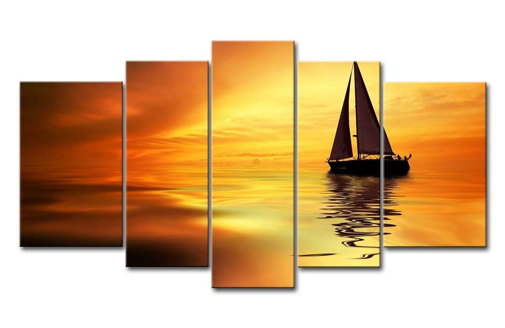 Amazon.com: So Crazy Art Yellow Orange 5 Panel Wall Art Painting ...