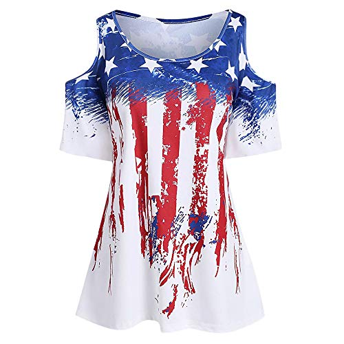 KCatsy Women Plus Size American Flag Cold Shoulder T-Shirt White]()