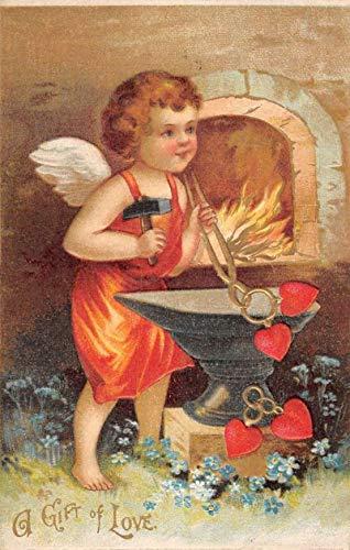 (Gift Of Love Cherub Cupid Welder Hearts Antique Postcard K825908 )