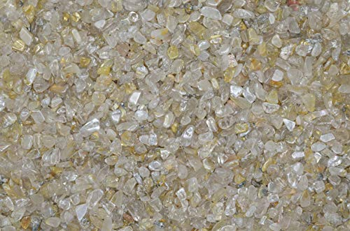 Fantasia Materials: 1 lb of Tumbled Rutilated Quartz Chip Size Stones - Polished Rocks for Fountains, Crafts, Vases, Flower Pots, Art Projects, Jewelry Making, Reiki and More!