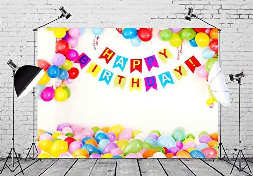(BELECO 7x5ft Happy Birthday Backdrop Birthday Party Interior Decorations Birthday Banner and Colorful Balloons Birthday Party Supplies Boy Girl Photoshoot Photo Background Props)