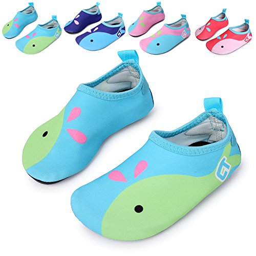 L-RUN Flexible Barefoot Water Skin Shoes Aqua Socks For Beach Swim Surf Yoga Exercise Light Blue 9.5-10=EU 26-27