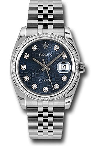 Rolex Datejust 36mm Stainless Steel Case, 18K White Gold Bezel Set With 52 Brilliant-Cut diamonds, Blue Jubilee Dial, Diamond Hour Markers, and Stainless Steel Jubilee Bracelet.