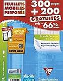 Clairefontaine - 11791c - Feuillets Mobiles format 21 x 29,7, Séyès grands carreaux - Lot de 300 + 200 gratuit