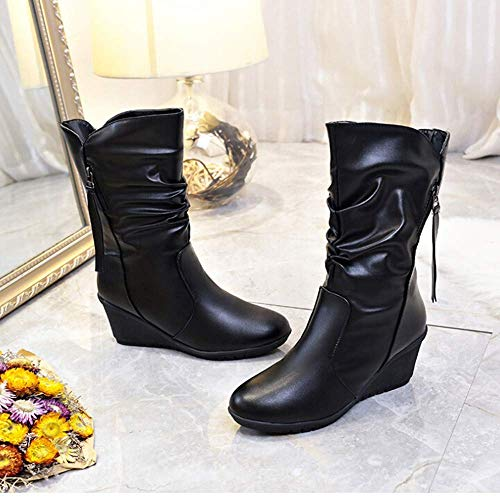Combat Combat Lace Lace Lace ZHRUI Pelle Dimensione Ankle up UK Riding Chukka Colore in Chelsea Solette Horse Tacco Military Wedge Nero Platform Donna Winter Ladies Nero Desert Alto PU 4 A0AqgRrW