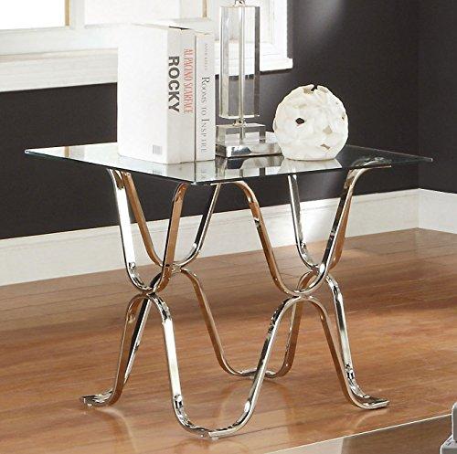 Furniture of America Mirella Contemporary End Table, Chrome