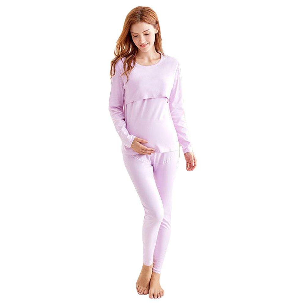Pijamas de enfermería para Mujeres Conjunto de Manga Larga con Cuello Redondo Manga Larga de Lactancia Traje de casa de Dos Piezas Top Jumper CHM1808290105
