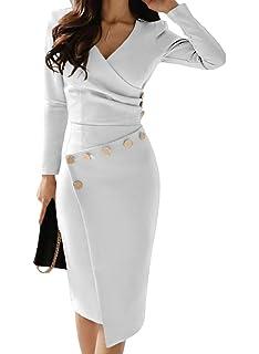 Aleumdr Vestito Donna con Collo V Profondo Abito da Cocktail Donna Solido Vestiti  Donna Invernali ae4e571cc31