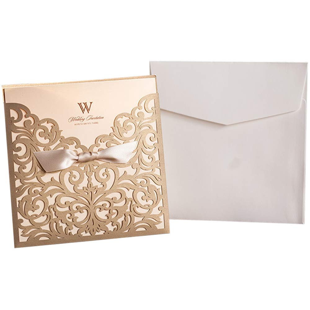 Graces Dawn 100pcs Laser-cut Lace Flower Pattern Wedding Invitations Cards(set of 100pcs) and Blank Cards and Envelopes 6 x 6'' - Value Pack (Champagne Gold)
