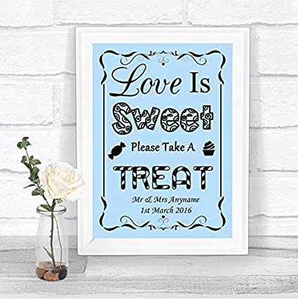 Blue Love Is Sweet Candy Bar Cart Buffet - Cartel de boda ...
