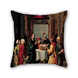 pillow shams of oil painting Anonymous follower of Juan de Borgoña - The Presentation of Christ and the Purification of the Virgin Mary in the Temple,for floor,teens girls,her,wife,wedding,home office 16 x 16 inches / 40 by 40 cm(twice sides)