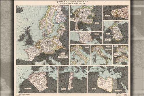 Poster War Dept Map Of World War II Europe & Africa 1945 Antique Reprint