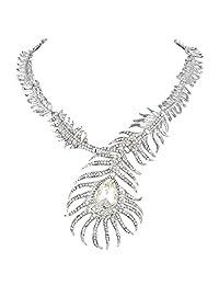 Ever Faith Austrian Crystal Peacock Feather Teardrop Statement Necklace
