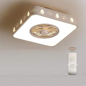 Ventiladores Para El Techo Con Lámpara,Candelabro Moderno Restaurante Ventilador De Techo Luz Ión Negativo Ventilador Luz De Techo Lámpara Moderna Minimalista Ventilador Cuadrado @ B: Amazon.es: Iluminación