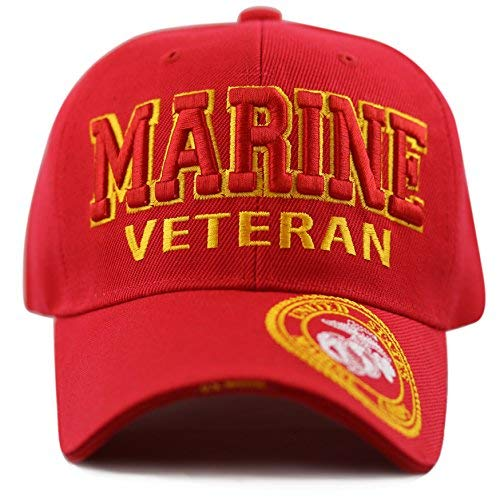 (The Hat Depot 1100 Official Licensed Military 3D Embroidered Marine Veteran Cap (Marine-Red))