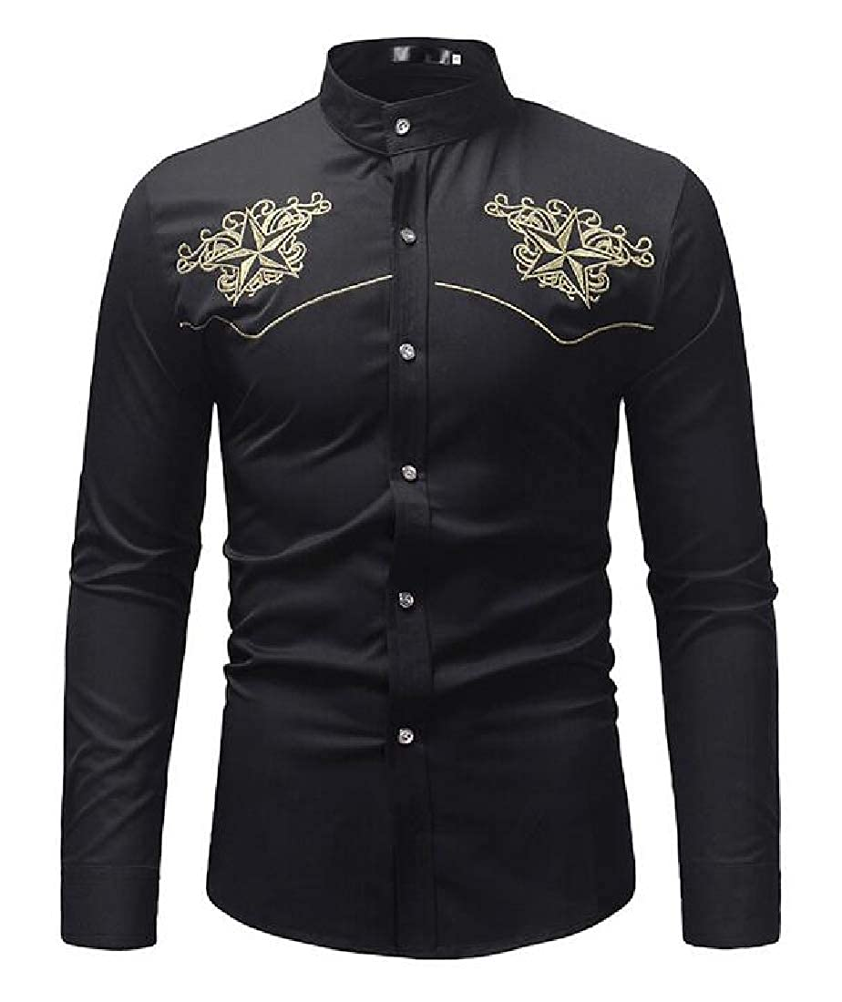 Jofemuho Mens Embroidery Slim Fit Long Sleeve Formal Button Down Dress Shirt