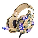 VersionTech Updated Version EACH G2600 3.5mm Pro Stereo Gaming Headset Headphone Headband with Microphone,LED Light,Deep Bass,Noise isolation Features for PS4 Laptop and Mobile Phones (Camouflage)