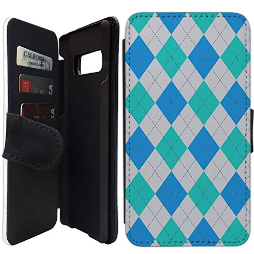 Flip Wallet Case Compatible with Galaxy S10e (5.8 inch) (Argyle Pattern Blue Gray Teal) with Adjustable Stand and 3 Card Holders | Shock Protection | Lightweight | Includes Free Stylus Pen by Innosub