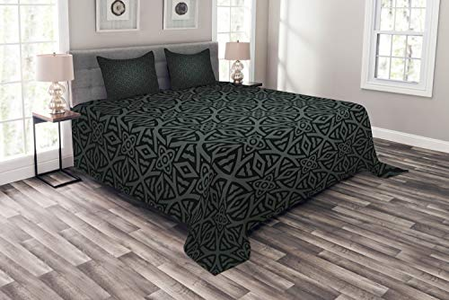 - Ambesonne Dark Grey Bedspread Set King Size, Medieval Folkloric Ornament Celtic Pattern Vintage Style Abstract Floral Circles, 3 Piece Decorative Quilted Coverlet with 2 Pillow Shams, White Blue