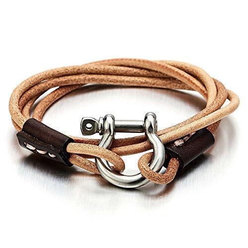 Nautical Shackles Leather Bracelet Wristband