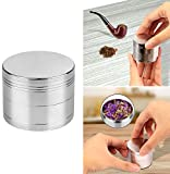 GPCT [Stainless Steel] Tobacco Herb Spice Grinder. 4.9 CM Tall, 4 Pieces, 3 Chambers, Pollen Catcher, Stive Scraper Included [Durable] Zinc Alloy Magnetic Top- Silver