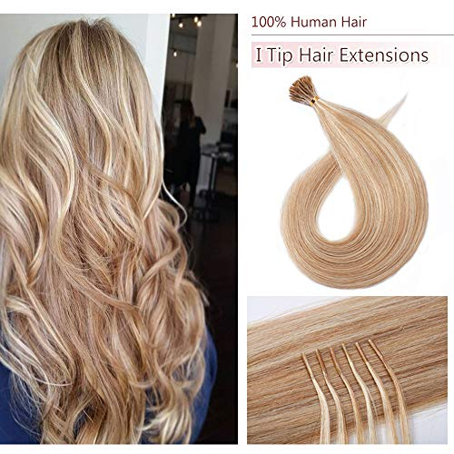 (100 Strands/Pack I Tip Remy Human Hair Extensions Pre Bonded Keratin Stick In Hair Extensions Cold Fusion Hair Piece For Women Long Straight #18P613 Ash Blonde&Bleach Blonde 18'' 50g)