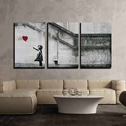 "wall26 - 3 Piece Canvas Wall Art - There is Always Hope - Girl and Red Heart Balloon - Street Art - Guerilla - Modern Home Decor Stretched and Framed Ready to Hang - 16""x24""x3 Panels"
