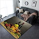Vanfan Design Home Decorative barrel bottles and glasses of wine and ripe grapes on wooden table on grey background Modern Non-Slip Doormats Carpet for Living Dining Room Bedroom Hallway Off