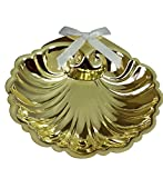 Inspire Nation Baptismal Shell Gold Finish with White Ribbon