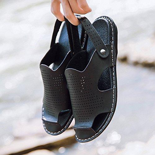 Die neuen Sommersandalen Dual Use Männer Wearable Anti-Rutsch-Sandalen Microfaser Sandalen Freizeit Beach Flip Flops, Schwarz, UK = 8, EU = 42