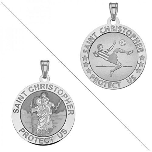 Soccer   Saint Christopher Doubledside Sports Religious Medal 3 4 Inch Sterling Silver